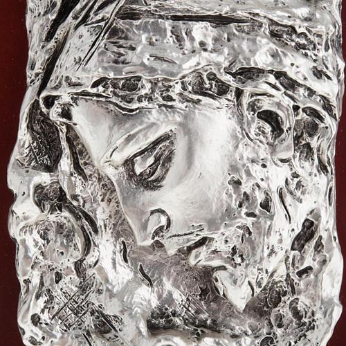 Basrelieffigur Gesicht Christi, silberweisses Metall 2