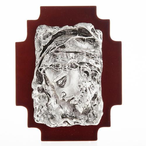 Bajorrelieve cara de Cristo, metal plateado 1