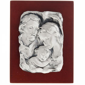 Silver bas-relief Holy Family on wood s1