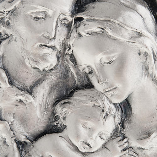 Silver bas-relief Holy Family on wood 2