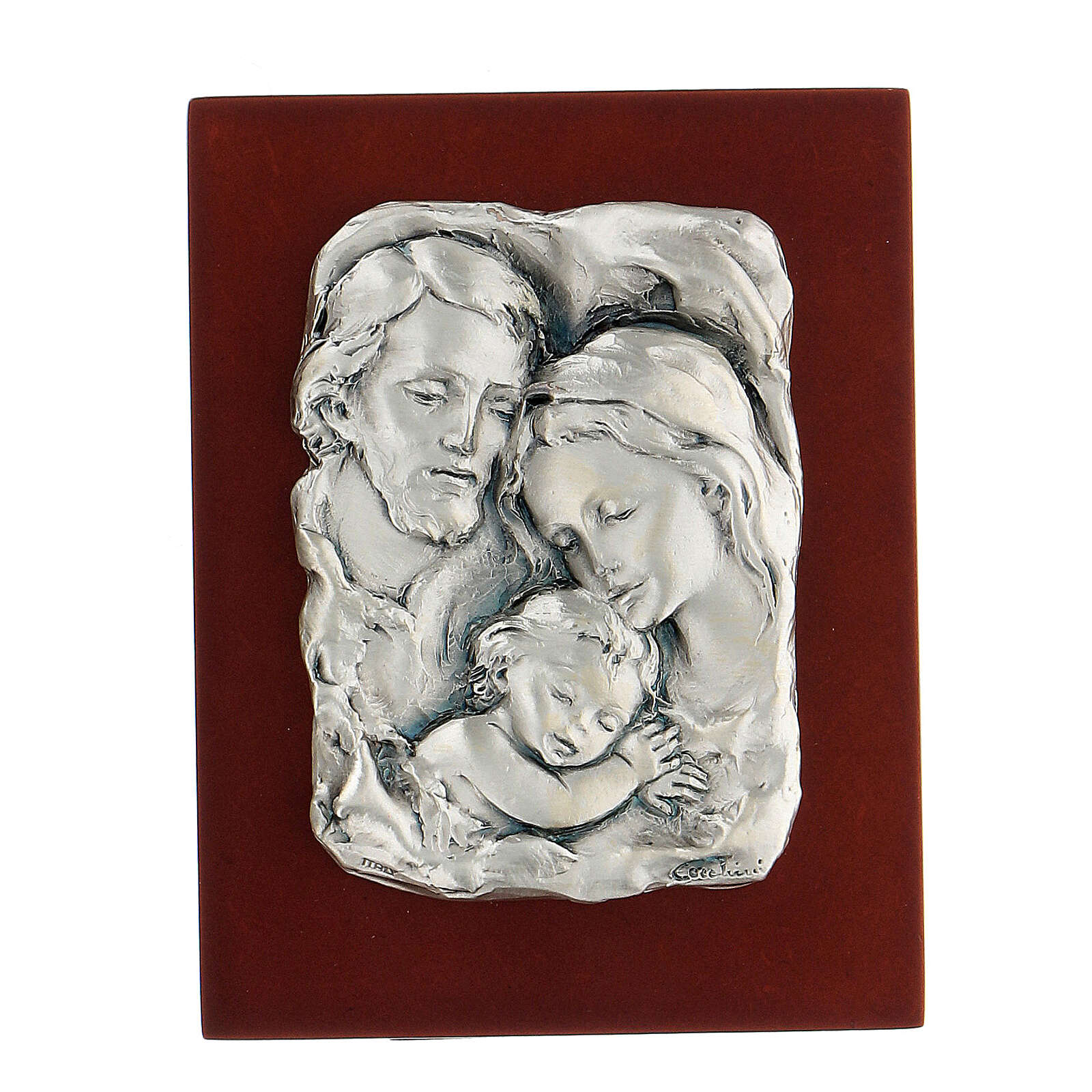Św. Rodzina płaskorzeźba posrebrzany metal 4