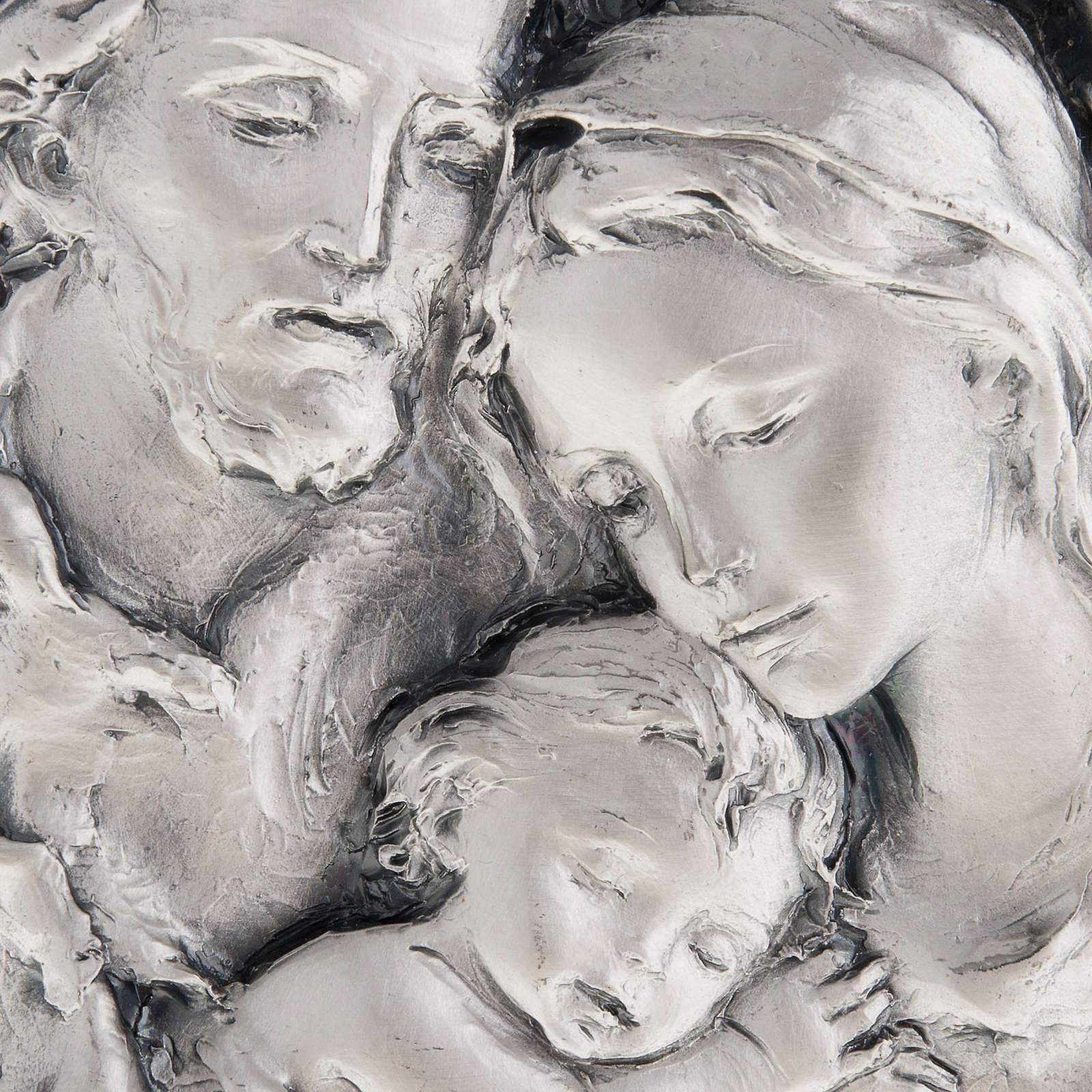 Baixo-relevo Sagrada Família metal prateado 4