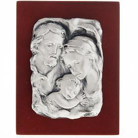 Baixo-relevo Sagrada Família metal prateado s1