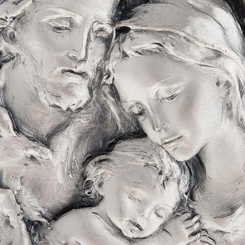 Baixo-relevo Sagrada Família metal prateado 2