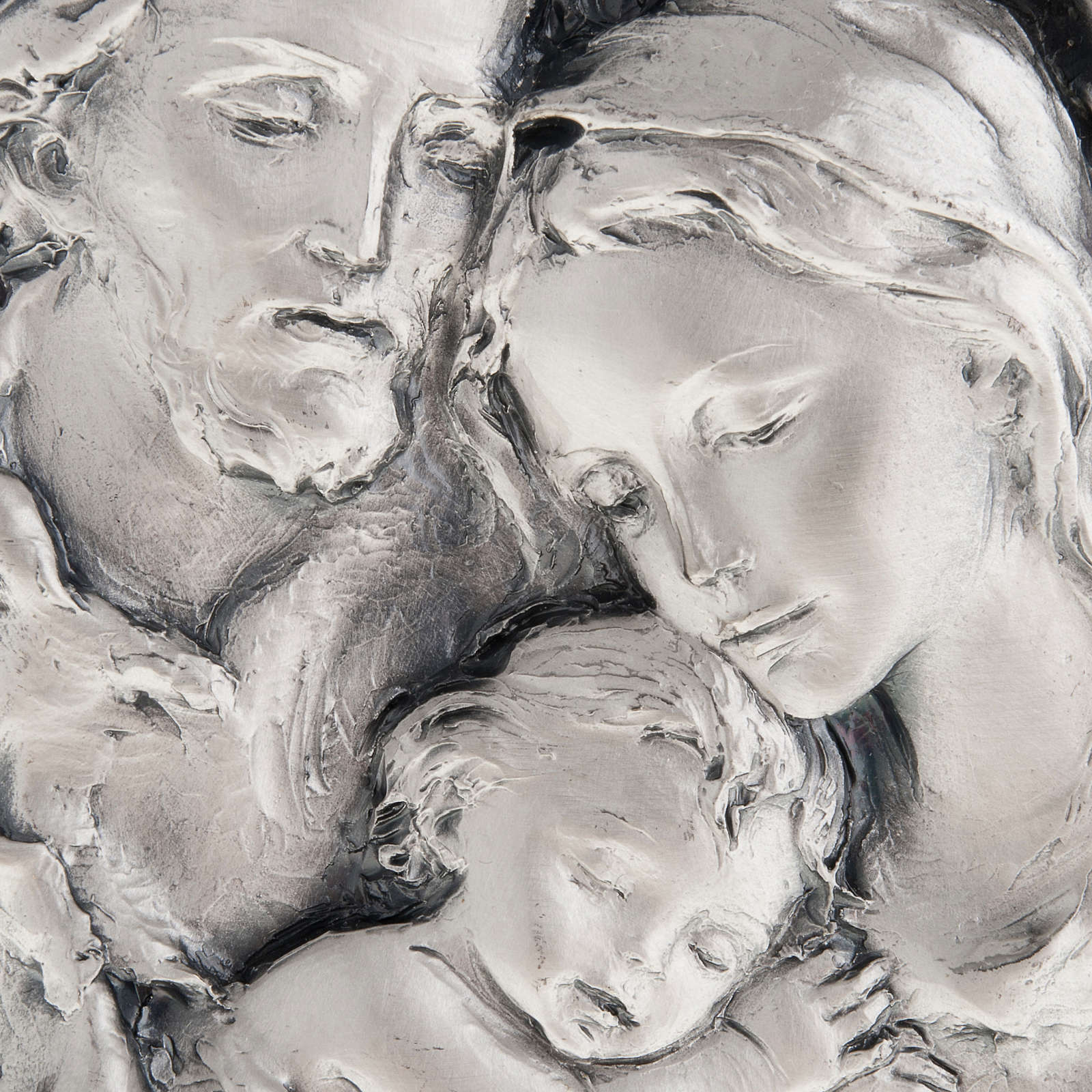 Silver bas-relief Holy Family on wood 4