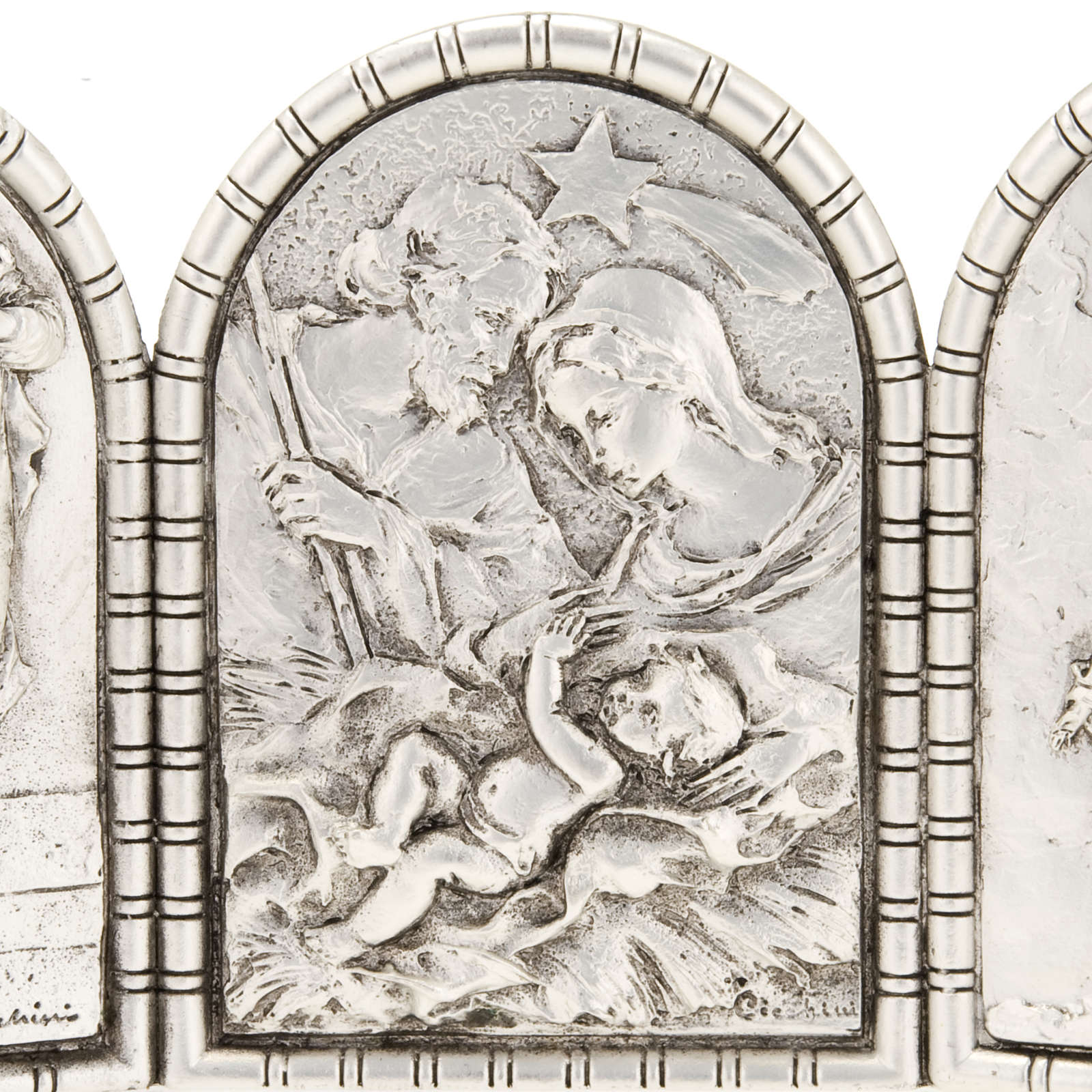 Bas-relief Triptych, Holy Family, Crucifixion, Annunciation 4