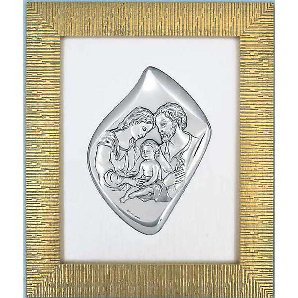 Basrelief silbrig Heilige Familie, goldener Rahmen | Online Verfauf ...