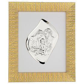 Bassorilievo argentato Sacra Famiglia cornice dorata s1