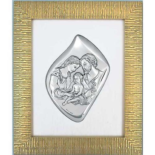 Bassorilievo argentato Sacra Famiglia cornice dorata 1