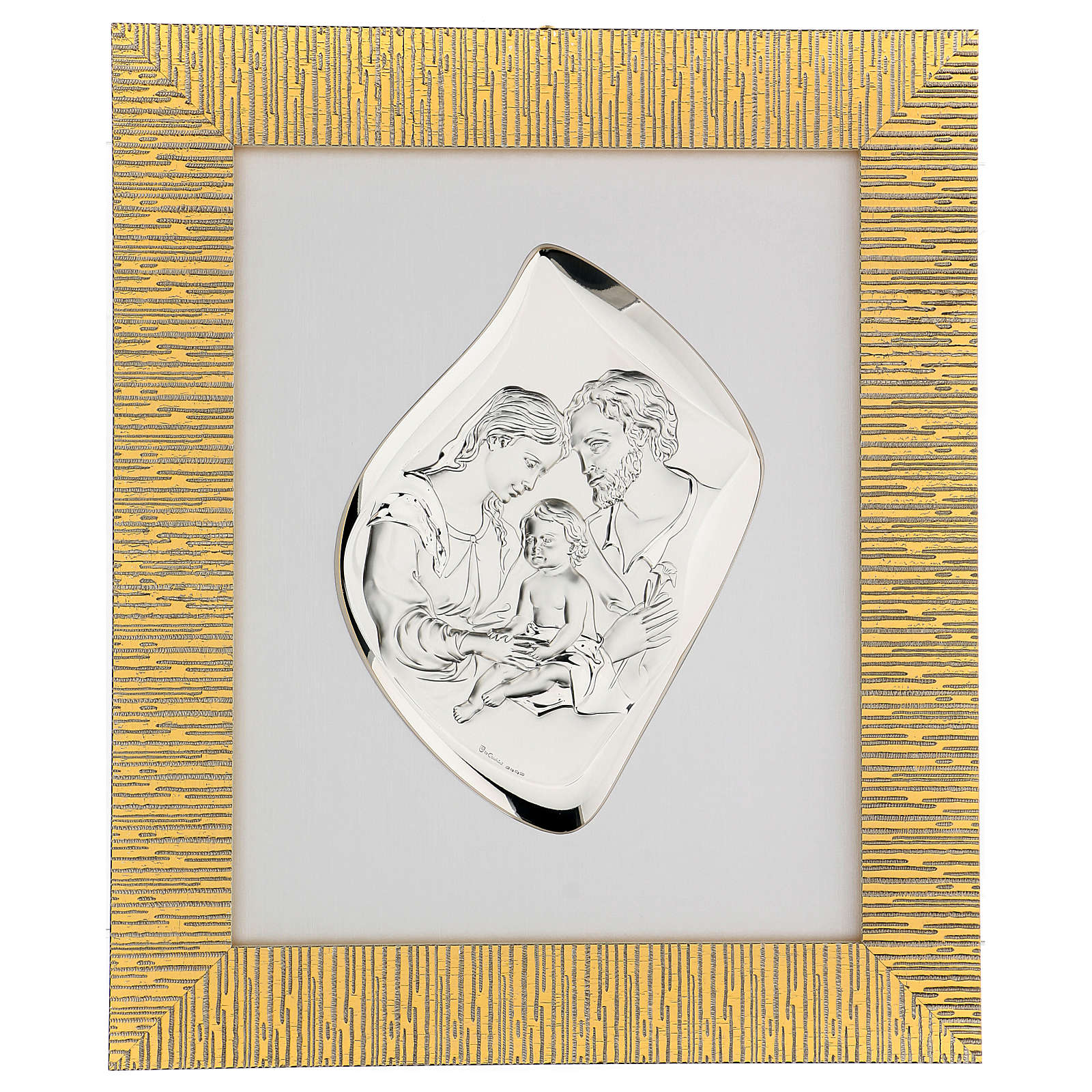 Silver bas-relief Holy Family, golden frame 4