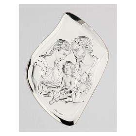 Silver bas-relief Holy Family, golden frame s2