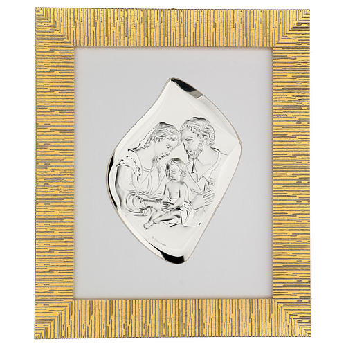 Silver bas-relief Holy Family, golden frame 1