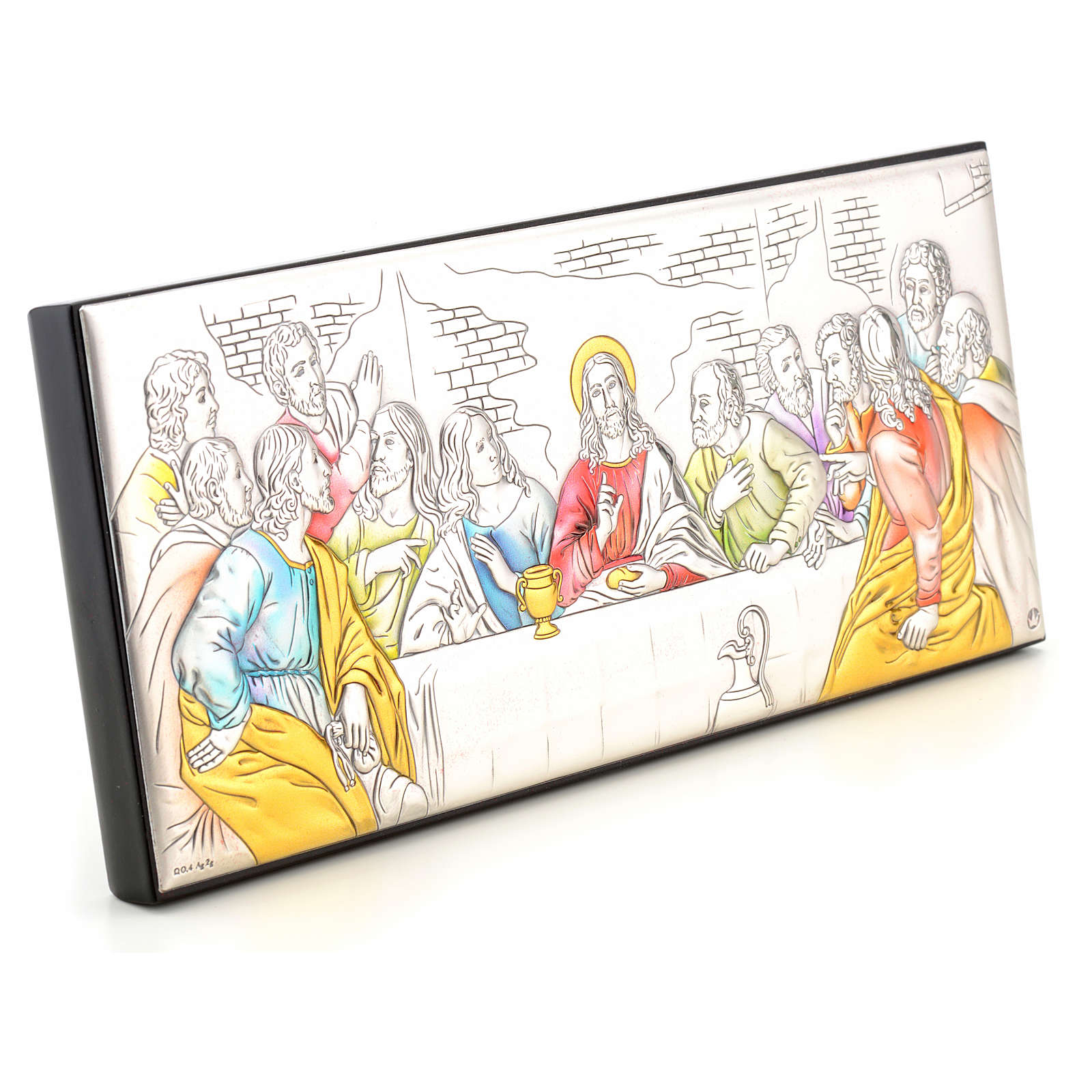 Bas-relief Last Supper, silver and colours 4