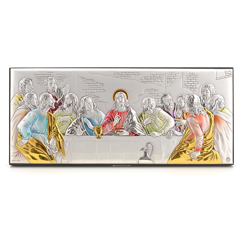Bas-relief Last Supper, silver and colours 1
