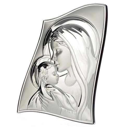 Obraz Madonna z Dzieciątkiem płytka srebra faliste brzegi 20x28 cm 2