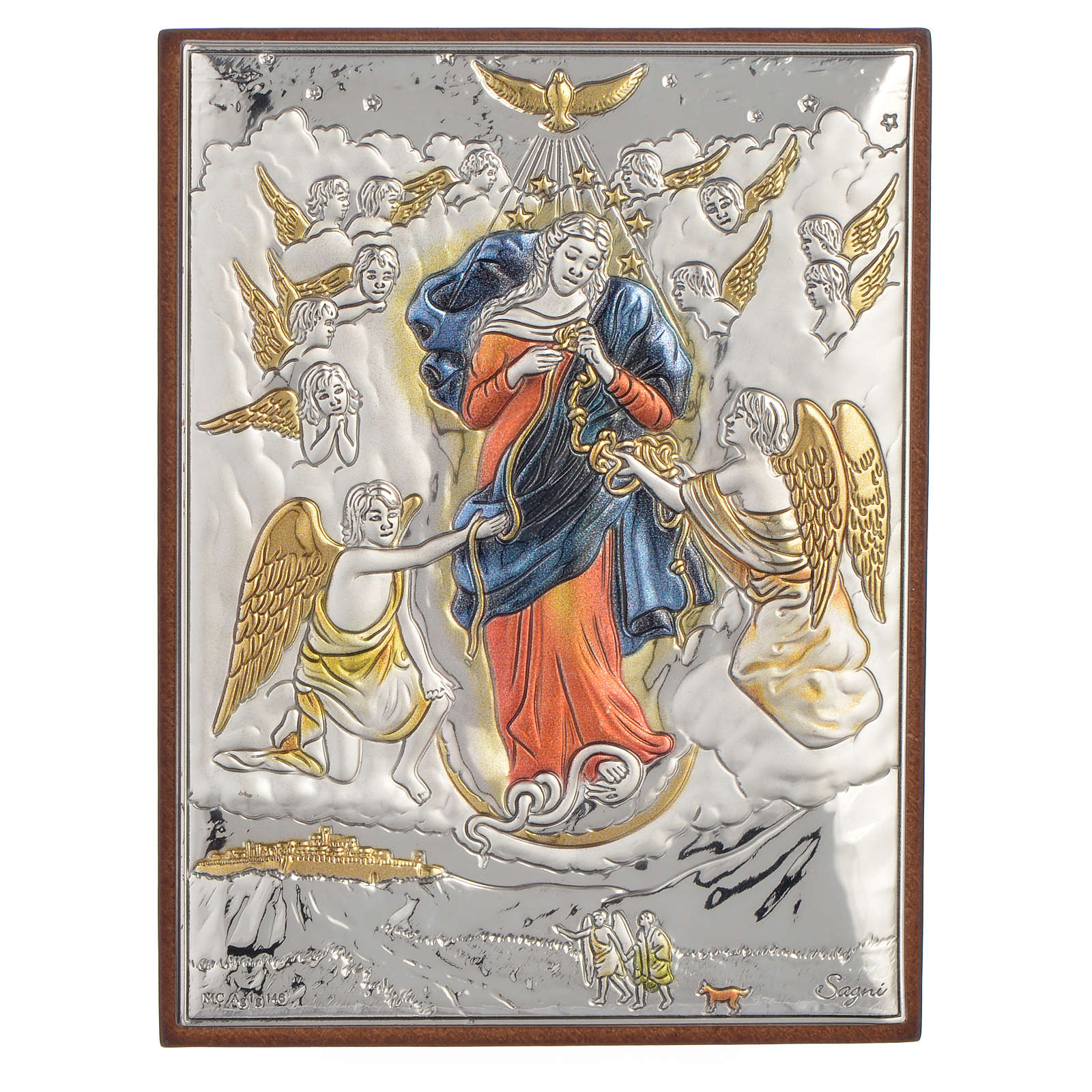 Relief aus Silber Gottesmutter der Knoten 8x11cm 4