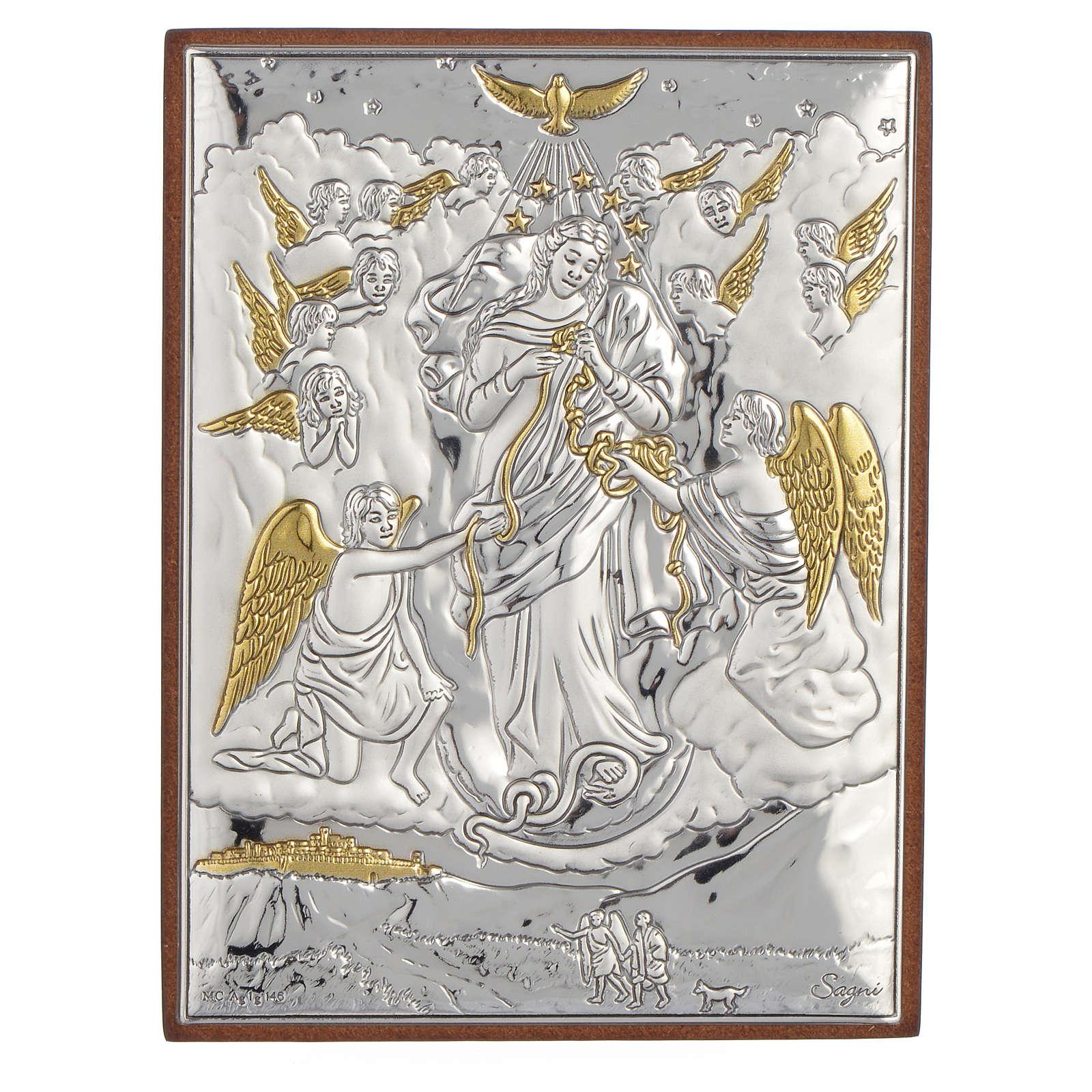 Obraz Maryja rozwiązująca węzły srebro pozłacane 8x11 4