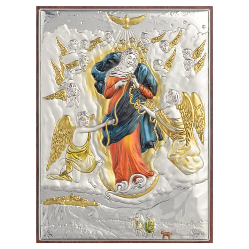 Tableau Marie qui défait les noeuds argent coloré 13x18cm 1