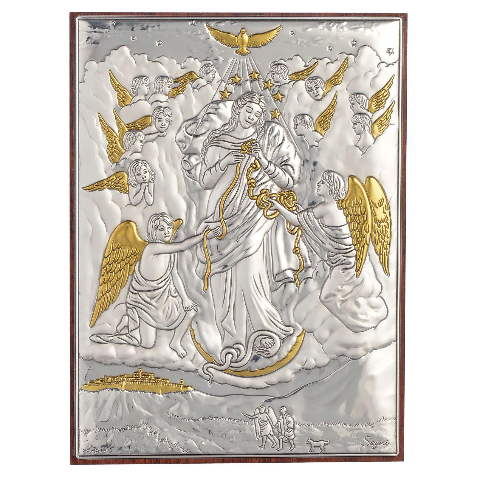 Quadro Madonna scioglie i nodi Argento dorato 13x18 4