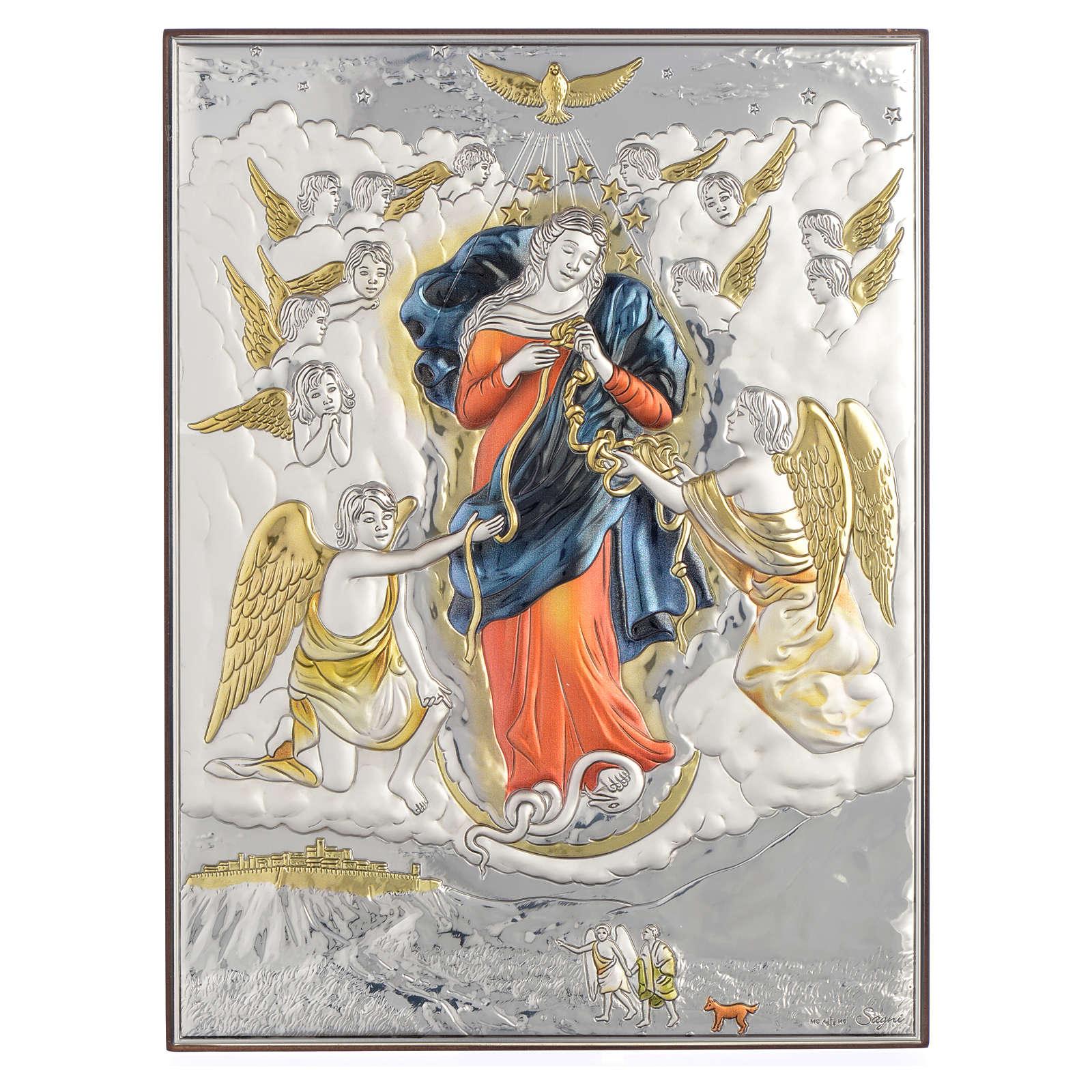 Quadro Madonna scioglie i nodi Argento 19x26 4