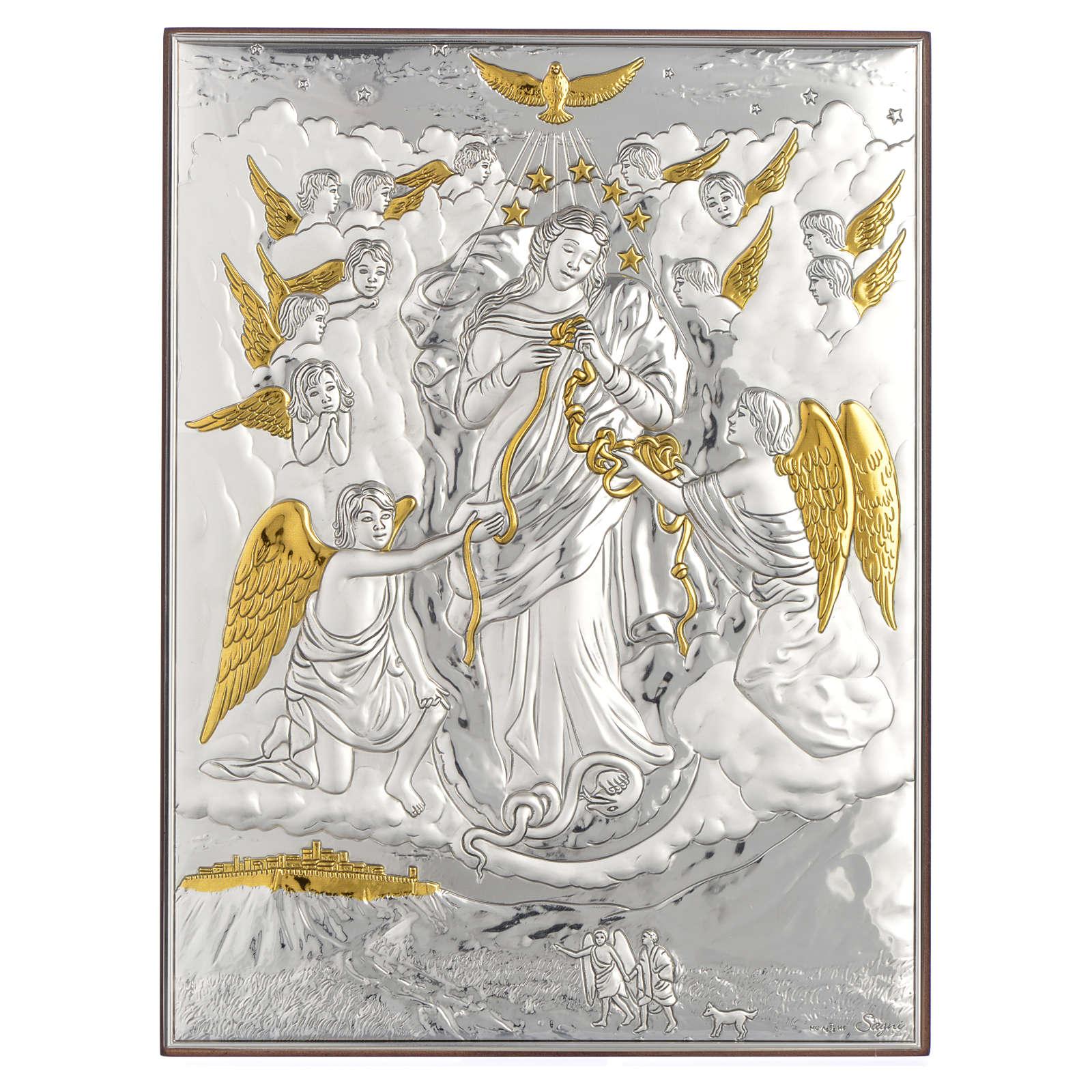 Obraz Maria rozwiązująca supełki srebro pozłacane 19x26 4