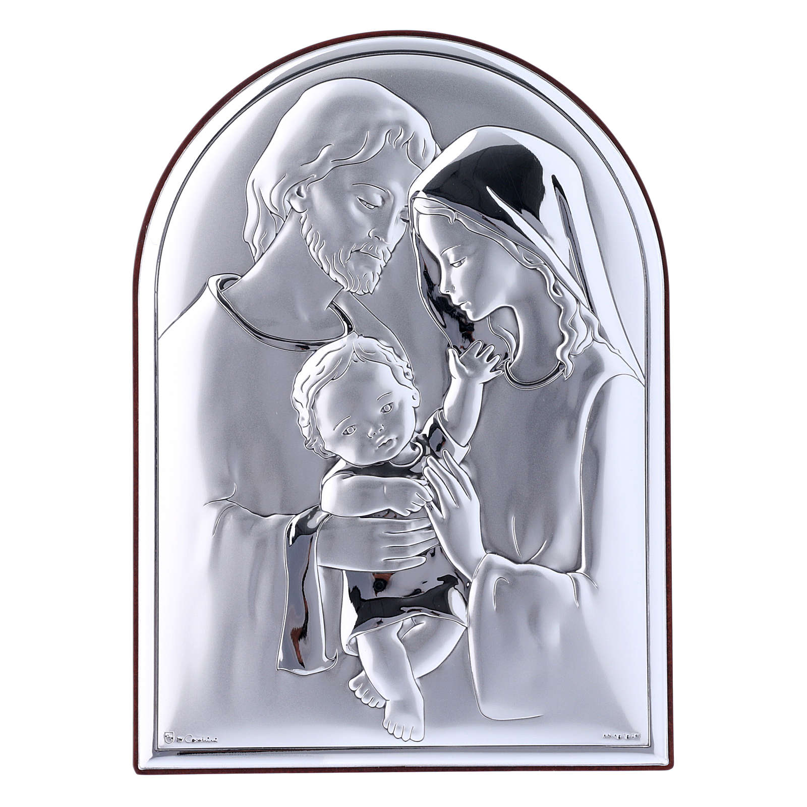 Holy Family painting in laminboard with refined wooden back 18X13 cm 4