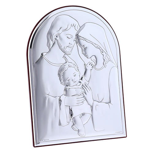 Holy Family painting in laminboard with refined wooden back 18X13 cm 2