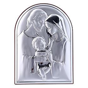 Cuadro de bilaminado Sagrada Familia con parte posterior de madera preciosa 18x13 cm s1