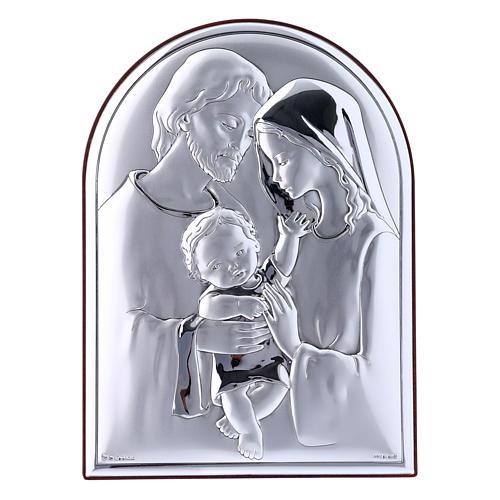 Cuadro de bilaminado Sagrada Familia con parte posterior de madera preciosa 18x13 cm 1