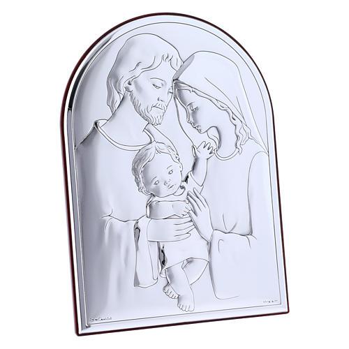 Cuadro de bilaminado Sagrada Familia con parte posterior de madera preciosa 18x13 cm 2