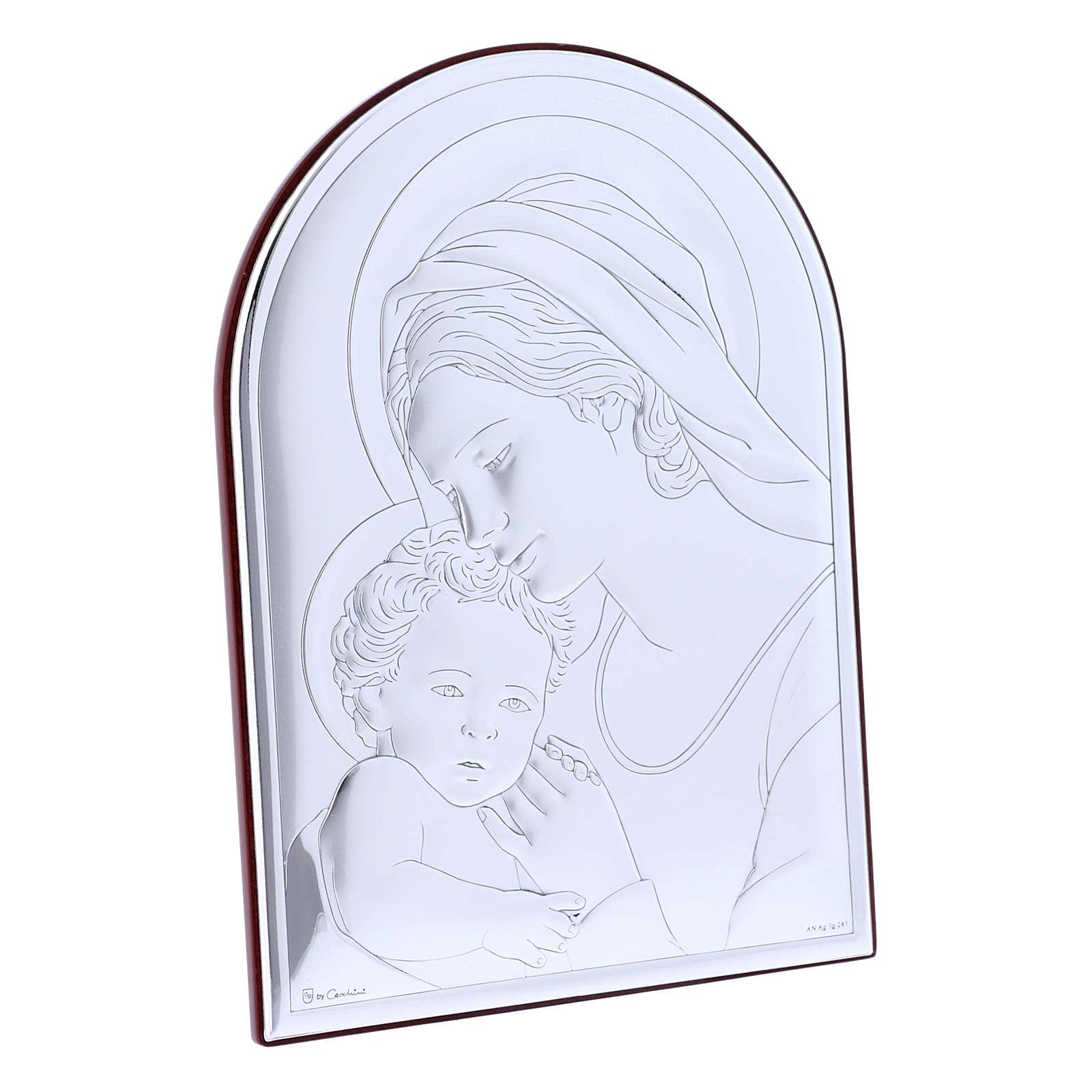 Quadro Madonna con Bambino in bilaminato con retro in legno pregiato 18X13 cm 4
