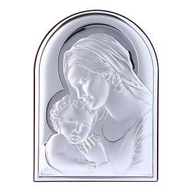 Quadro Madonna con Bambino in bilaminato con retro in legno pregiato 18X13 cm s1
