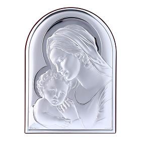 Our Lady with Baby Jesus painting in laminboard with refined wooden back 18X13 cm s1