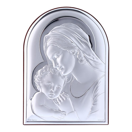Our Lady with Baby Jesus painting in laminboard with refined wooden back 18X13 cm 1