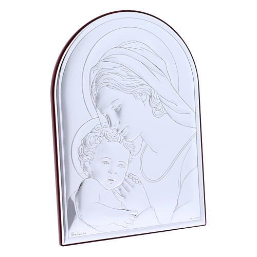 Our Lady with Baby Jesus painting in laminboard with refined wooden back 18X13 cm 2