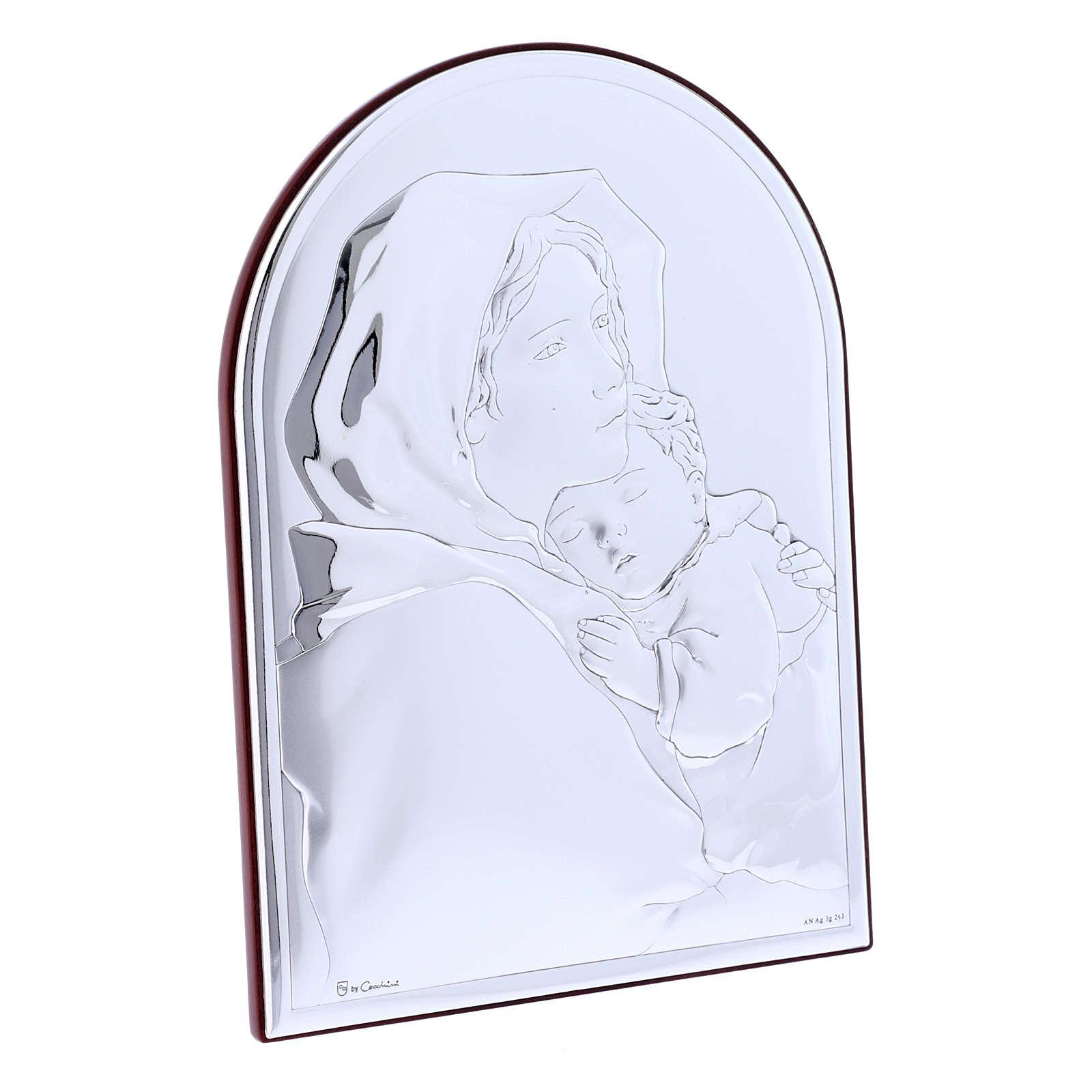 Quadro in bilaminato con retro in legno pregiato abbraccio Madonna con Gesù 18X13 cm 4