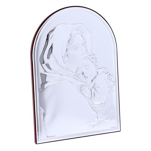 Quadro in bilaminato con retro in legno pregiato abbraccio Madonna con Gesù 18X13 cm 2