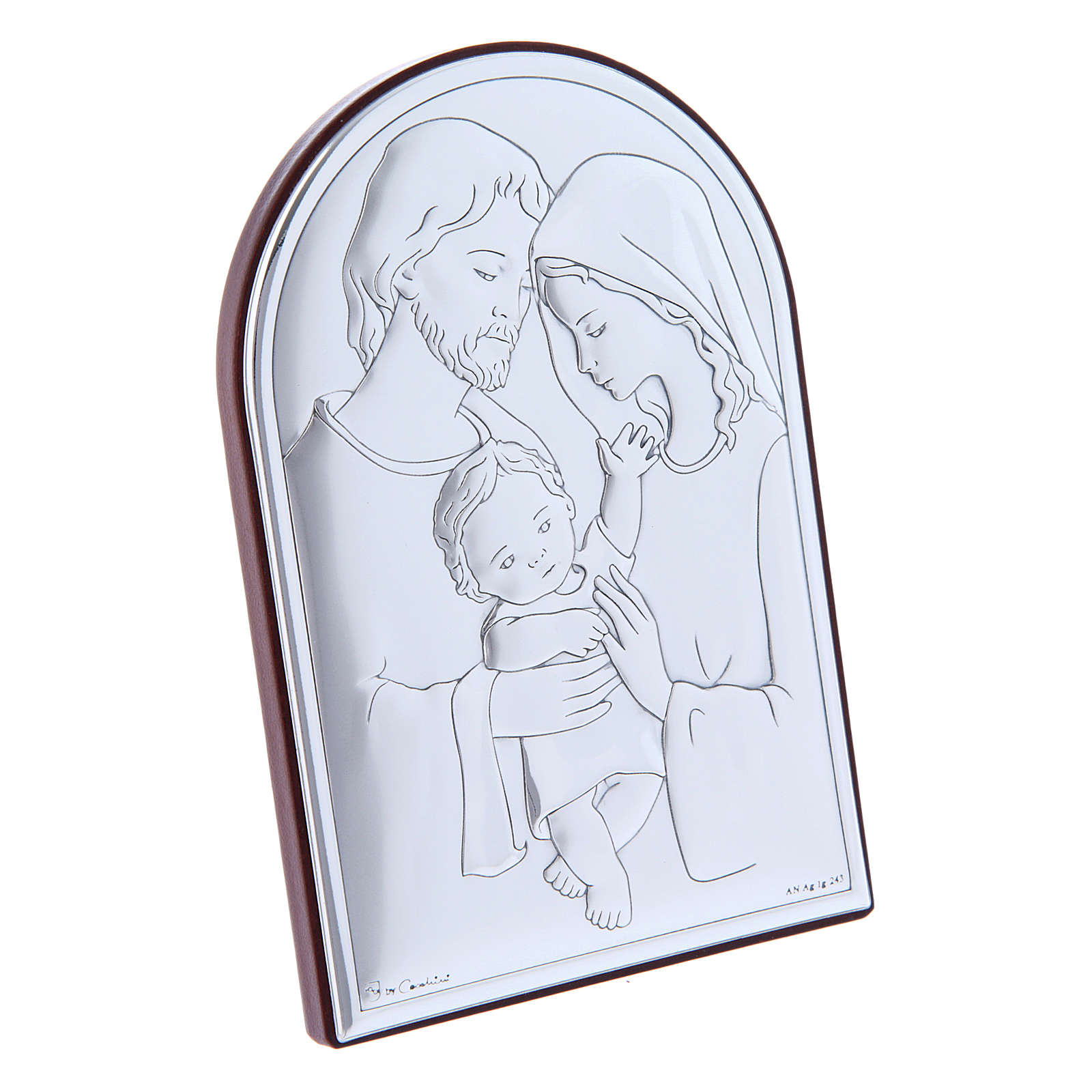 Holy Family painting in laminboard with refined wooden back 12X8 cm 4