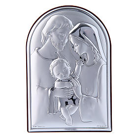 Holy Family painting in laminboard with refined wooden back 12X8 cm s1