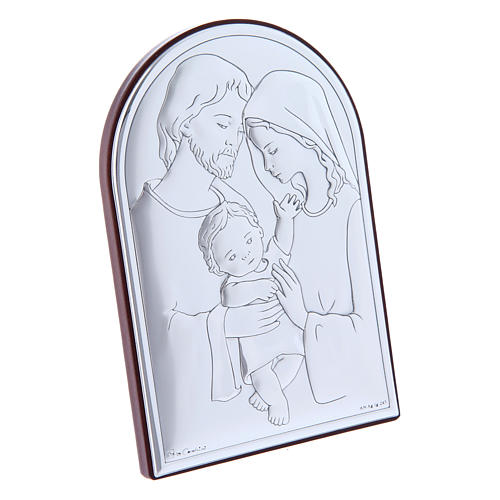 Holy Family painting in laminboard with refined wooden back 12X8 cm 2
