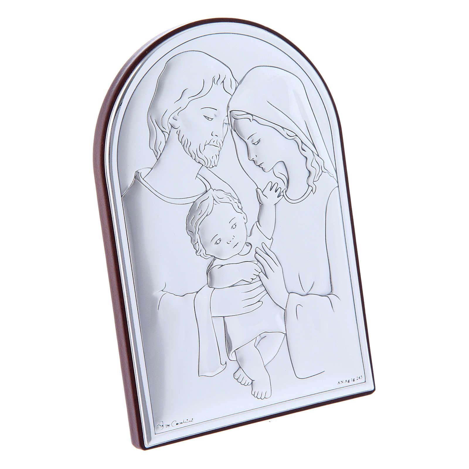 Quadro in bilaminato con retro in legno pregiato Sacra Famiglia 12X8 cm 4