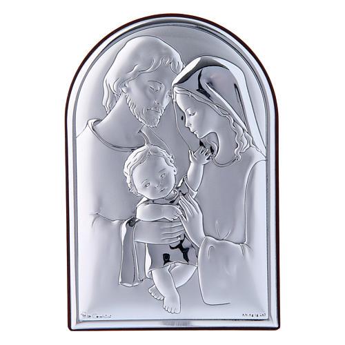 Obraz Święta Rodzina bilaminat tył z prestiżowego drewna 12x8 cm zaokrąglony na górze 1