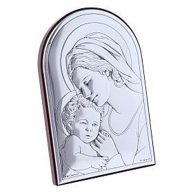 Quadro in bilaminato con retro in legno pregiato Maria con Gesù 12X8 cm s2