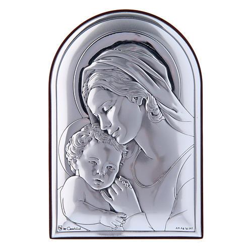 Quadro in bilaminato con retro in legno pregiato Maria con Gesù 12X8 cm 1