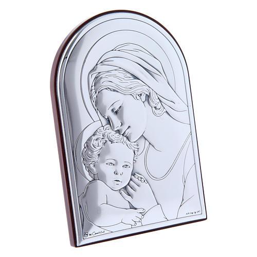 Quadro in bilaminato con retro in legno pregiato Maria con Gesù 12X8 cm 2