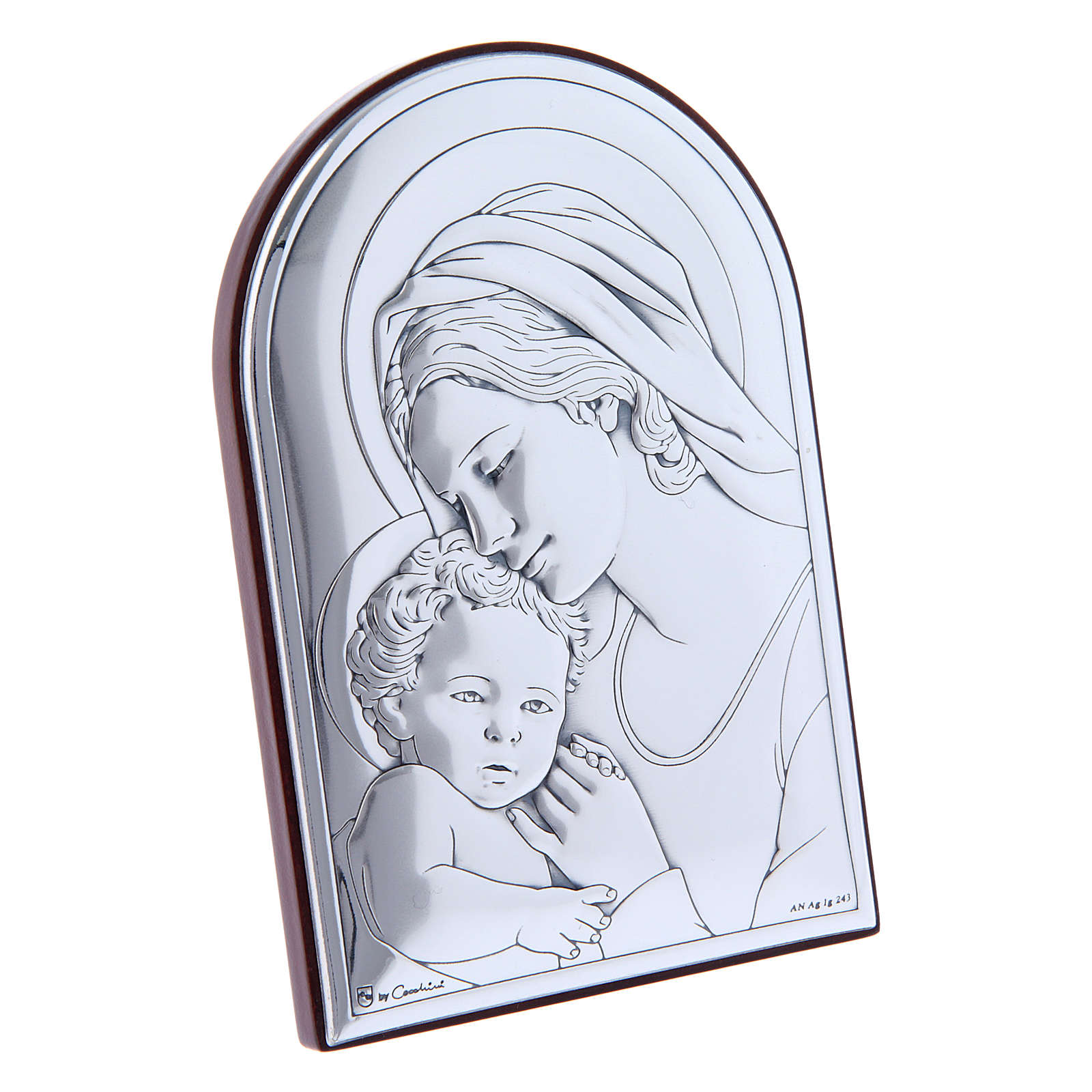 Virgin Mary with Jesus painting in laminboard with refined wooden back 12X8 cm 4