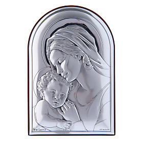 Virgin Mary with Jesus painting in laminboard with refined wooden back 12X8 cm s1