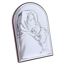 Quadro abbraccio Madonna Bambino in bilaminato con retro in legno pregiato 12X8 cm s2