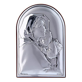 Our Lady and Baby Jesus hug painting in laminboard with refined wooden back 12x8 cm s1