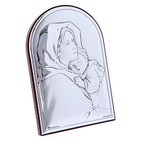 Our Lady and Baby Jesus hug painting in laminboard with refined wooden back 12x8 cm s2